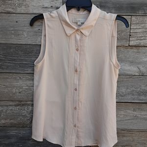 Loft Button down peach sleeveless blouse size Med